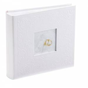 Kenro White Wedding Photo Album for 200 Photos 7x5 inch / 13x18cm with Photo Window on Cover Finely Embossed Filigree Cover with Memo Space Next to Each Photograph Gift for Marriage Celebration, Slip-In Pages, Pearl Wedding Series Ring Design PL202