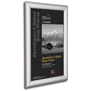 SECO Stewart Superior A3 Aluminium 4 Sided 25mm Front Loading Picture/Poster Snap Frame - Silver