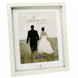 "Amore Wedding Gifts. Crystal Rings Design Photo Picture Frame 8"" x 10"""
