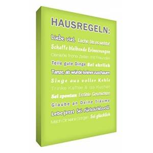 """Little Helper HR128-02G Feel Good Art Wall Decoration on a Canvas,""""Hausregeln"""" (House Rules) in a Modern Typographic Style, 30 x 20 cm, Lime Green"""