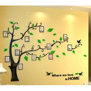 MJTP DIY 3D Huge Menory Tree Wall Stickers Crystal Acrylic Photo Frame Tree Wall Decals Wall Murals Home Decorations Arts (XL, Green, Left to Right)