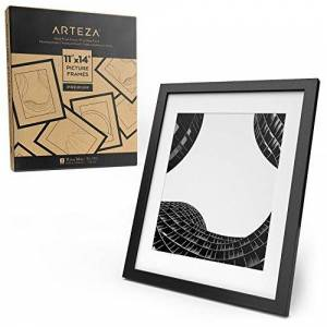 "ARTEZA Black Photo Frames 11x14 w/o Mat or 8.5""x11"" w/Mat, 2-Pack, Wood Finish Multi Picture or Certificate Frames with Glass Panel, for Displaying Multiple Photos on Flat Surfaces or Walls"
