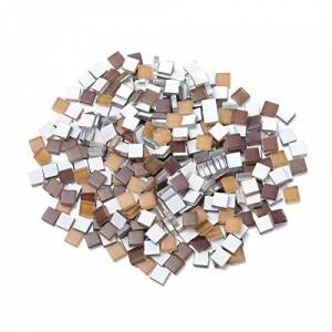 Milisten 300pcs Mosaic Tiles Square Crystal Mosaic Stones Stained Glass Tiles for Photo Frames DIY Craft Decoration Maroon
