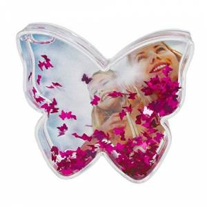 Dorr Butterfly Shaped Snow Globe with Glitter Butterflies (Color may vary)