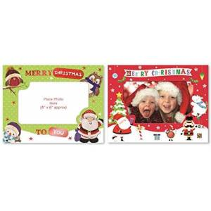 Giftmaker Collection 8 Christmas Photo Frame Cards & Envelopes Personalised Greetings