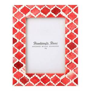 Handicrafts Home Picture Photo Frame Moorish Damask Moroccan Arts Inspired Handmade Naturals Bone Frames Photo Size 5X7 Inches Red & White