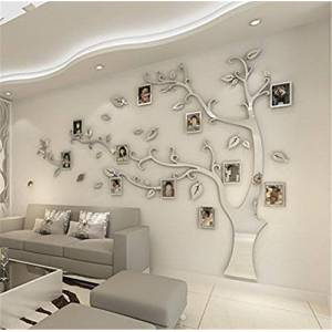 MJTP DIY 3D Huge Menory Tree Wall Stickers Crystal Acrylic Photo Frame Tree Wall Decals Wall Murals Home Decorations Arts (L, Silver, Right to Left)