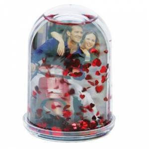 Dorr High Snow Globe with Hearts Photo Frame - Red