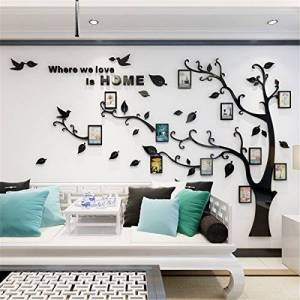 MJTP DIY 3D Huge Menory Tree Wall Stickers Crystal Acrylic Photo Frame Tree Wall Decals Wall Murals Home Decorations Arts (M, Black, Right to Left)