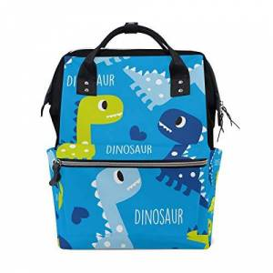 Pnglld Blue Cute Dinosaur Diaper Baby Bag Backpack for Mom Women Nappy Bag Multi-Function Backpack Travel School College Large