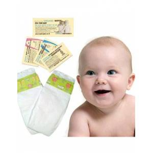 Beaming Baby Nappy Trial Pack, Bio-Degradable, Eco Friendly and Chemical Free! Mini (Size1; 2-6 kg, 4-13 lb) 2 Nappies, 2 Corn-Starch Nappy Sacks and Sensitive and Fragrance-Free Wipe Sachets