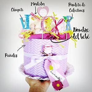 Lunadei Torta di Pannolini DODOT Modello IRIS Personalizzabile con il Nome del Beb contiene: Ciuccio SUAVINEX, Massaggiagengive CANPOL BABIES, Lecca lecca di calzini in cotone di Marca Diaper Cake Baby Shower Gift Idea Tono Rosa/Viola, Per Femminucce