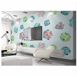 Zuoying Wall Sticker Removable Mural Wall Decorationcustom Mural Wallpaper Watercolor Flowers Succulents Plant 3D Wallpaper Walls Environment Friendly Thicken Tv Background Wall140*70.5Cm