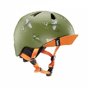 Bern Kids' Nino With Flip Visor Cycling Helmet, Matte Green Dogfight, Small/Medium