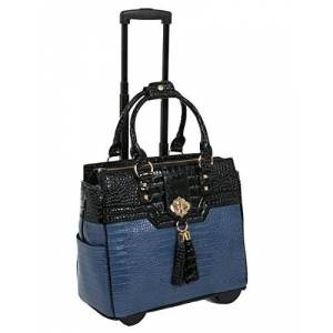 JKM & Company THE OCEANSIDE Blue & Black Alligator Faux Leather Computer iPad, Laptop Tablet Rolling Tote Bag Briefcase Carryall Bag