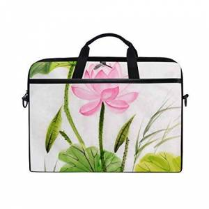 Ahomy 14 Inch Laptop Bag, Watercolor Painting Of Lotus Flower Canvas Fabric Laptop Case Bussiness Handbag With Shoulder Strap for Women and Men