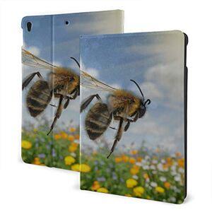 JIUCHUAN Case For New Ipad 2019 Ipad Air3/2017 Ipad Pro 10.5 Inch Case/2019 Ipad 7th 10.2 Inch Case Honey Bee Pollinate Yellow Flower Ipad Cover For Kids Auto Wake/sleep
