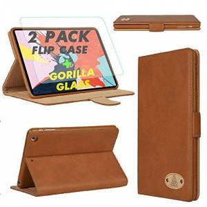 Gorilla Tech Leather Case With Screen Protector Tempered Glass For Apple iPad Air 2 and Air 1 Model MGLW2LL/A MH2V2LL/A MD785LL/A ME991LL/A A1566 A1567 A1474 A1475 Folio Cover Protective Book - Brown