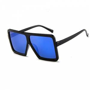 erthome Ladies Men's Fashion Retro Glasses Large Frame UV Protection Sunglasses Glasses (Blue)