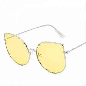 XJJSZJ Sunglasses Sunglasses retro metal cat eye sunglasses lady vintage black transparent framec5