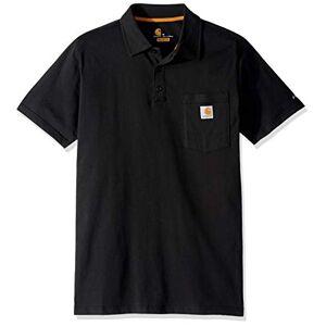 Carhartt Men's Force Cotton Delmont Pocket Polo Shirt, Black, Large