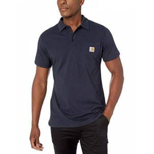 Carhartt Men's Force Cotton Delmont Pocket Polo Shirt, Navy, Large