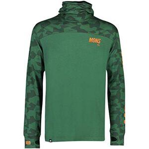 Mons Royale Men's Yotei Powder Hood Ls Long Sleeve Top, Green (Pine Camo 902), X-Large