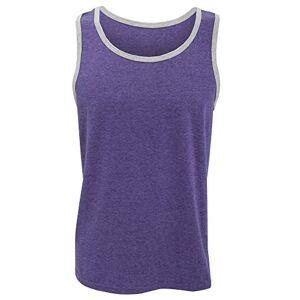 Anvil Mens Fashion Basic Tank Top / Sleeveless Vest (L) (Heather Purple/ Heather Grey)