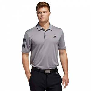 Adidas Golf Men's 2020 3-Stripe Basic Medium Weight Soft Stretch 3-Button Polo Shirt - Grey - L