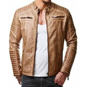 Redbridge Red Bridge Men's Faux Leather Genuine Jacket Transition Biker Ribbed Fashion Cotton Coats