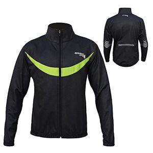 Farabi Sports Brisk men cycling jacket windstopper thermal fleece long sleeve bike jacket (Black/green, small)