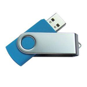 Ricco 16 GB Swivel USB 2.0 High Speed Metal Flash Memory Drive - Light Blue