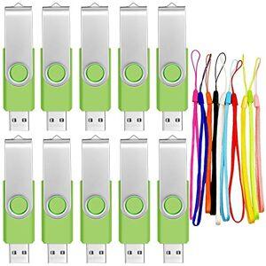 FEBNISCTE 256MB USB 2.0 Memory Stick Flash Drive 10 Pack Pendrives Small Capacity 256 MB Pen Drive Bulk Thumb Drives Swivel Green PenDrive Portable Gift U Disk with 10pcs Cords by FEBNISCTE
