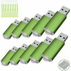 Fenglangrong 10PCS USB Flash Drive USB 2.0 Memory Stick Memory Drive Pen Drive (256MB, Green)
