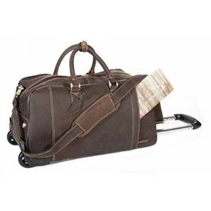 "Travel Duffle Bag""Roma"" Made of Buffalo Leather Trolley Holdalls Luggage Weekend Men Women by Alpenlede (Coffee)"