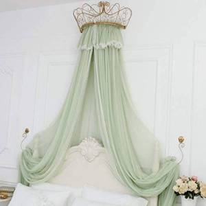 Bove Bed Curtain Bed Canopy,Round Dome Princess Bed Canopy Bed Drapes Decorations Elegant Adults Kids Rooms Lace Filato Di Cotone Bedroom Dcor-G-1.5m