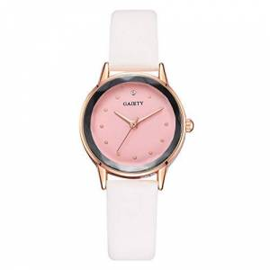 Alphahope Simple Ladies Watch, Quartz Watch Womens Digital Wrist Watch Fashion Simple Monochrome Thin Belt Watch Leather with Small Dial Ladies Watch (White)