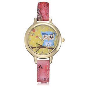 Itvip Orologio ITVIP Ladies Watch Cute Owl Animal Quartz Print Belt Watch Strap 212mm red