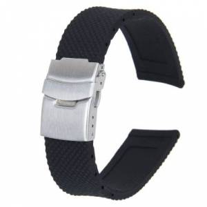 Generic Waterproof Silicone Watch Strap Band Deployment Buckle 22mm-Black