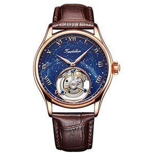 Aesop Mechanical Tourbillon Men Watch - Wrist Watch Classical Casual Watches for Men 50M Waterproof Round Dial Arabic Numerals Fashion Dress Watches for Men Calfskin Leather Band - 7006 (Bronze)