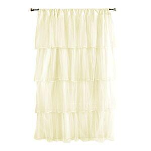 Tadpoles Multi Layer Tulle Curtain Panel, Ivory, 63''