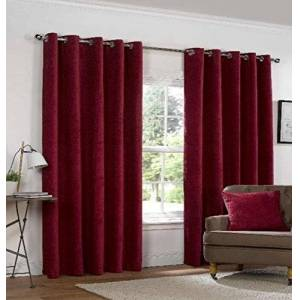 Yale Claret Heavyweight Chenille Eyelet/Ring Top Lined Pair of Curtains, 66 X 72 inch, Polyester, Red, 36x26x9.5 cm