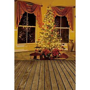 Leowefowa 1.5x2.2m Vinyl Christmas Background Vintage Christmas Window Backdrop Christmas Tree Floor Photo Background for Christmas Party Kids Photo Shoots Studio Props Photography Backdrops