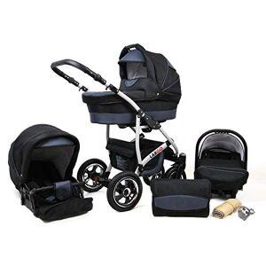 Saintbaby Travel System Stroller Pram Pushchair 2in1 3in1 Set Isofix New L-Go by SaintBaby Black & Graphite 4in1 car seat +Isofix