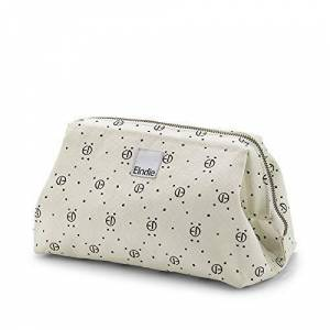 Elodie Details Wash Bag/Toiletry Bag Zip&Go in Canvas with Large Opening - Monogram Print, White