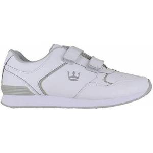 Crown King Mens/womens Leather Lace Up/touch Fasten Crown Green Bowling Sports Shoes Trainers Uk 8 / Eu 42 White/grey - Touch Fasten