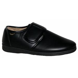 Dr Keller Mens Faux Leather Slippers Strap Closure With Outdoor Sole Black 12