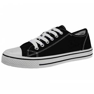 Foster Footwear Mens Canvas Or Faux Leather Pu Lace Up Low Top Flat Casual Plimsoll Sneaker Trainers Pumps Shoes Size 7-12 (Black, Numeric_9)