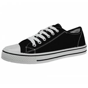 Foster Footwear Mens Canvas Or Faux Leather Pu Lace Up Low Top Flat Casual Plimsoll Sneaker Trainers Pumps Shoes Size 7-12 (Black, Numeric_8)