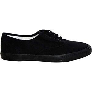 Dek Boys Girls Unisex Lace Up Canvas Casual Black White Flat School Pumps Plimsolls Trainers Shoes Infant-Youth Sizes 10-5 (Uk 11 - Kids, Black)